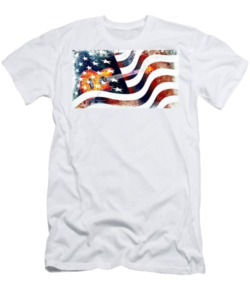 Country Music Guitar And American Flag Men's T-Shirt (Athletic Fit)