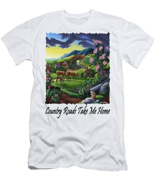Country Roads Take Me Home - Deer Chipmunk In High Meadow Appalachian Country Landscape Men's T-Shirt (Athletic Fit)