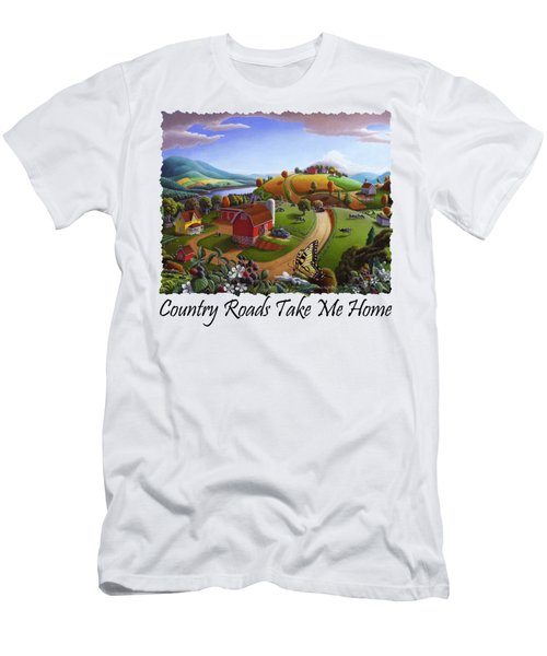 Country Roads Take Me Home T Shirt - Appalachian Blackberry Patch Rural Farm Landscape Men's T-Shirt (Athletic Fit)
