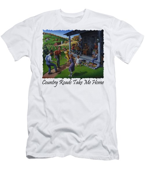 Country Roads Take Me Home T Shirt - Appalachian Mountain Music Men's T-Shirt (Athletic Fit)