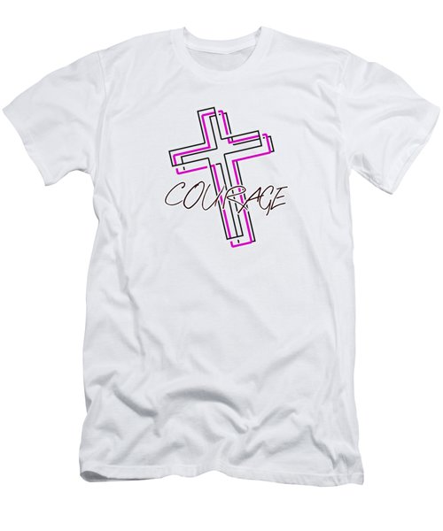 Courage And The Cross N Men's T-Shirt (Athletic Fit)
