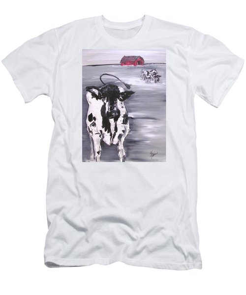 Cow In Winter Men's T-Shirt (Athletic Fit)