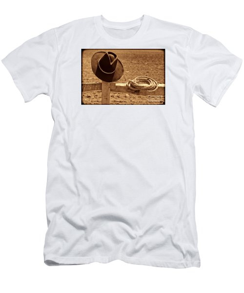 Cowboy Hat And Rope On A Fence Men's T-Shirt (Slim Fit) by American West Legend By Olivier Le Queinec
