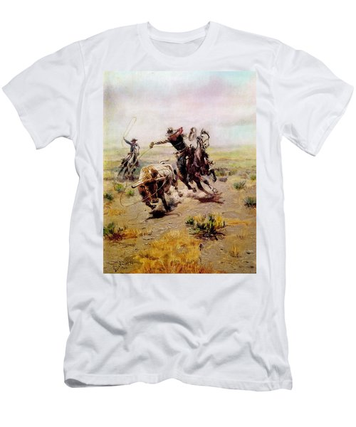 Cowboy Roping A Steer Men's T-Shirt (Athletic Fit)