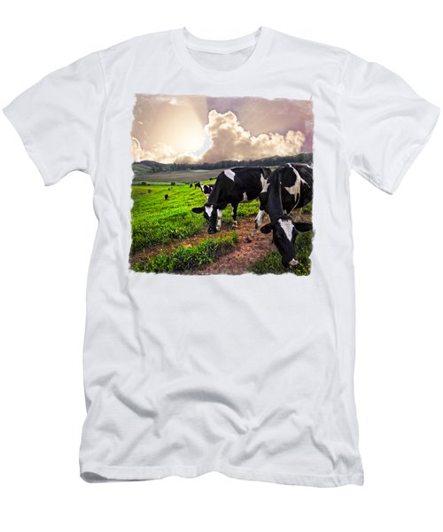Cows At Sunset Bordered Men's T-Shirt (Slim Fit) by Debra and Dave Vanderlaan