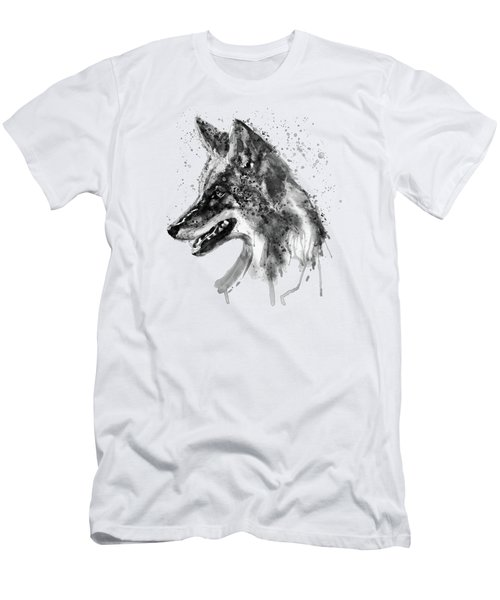 Men's T-Shirt (Slim Fit) featuring the mixed media Coyote Head Black And White by Marian Voicu