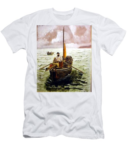 Men's T-Shirt (Athletic Fit) featuring the painting Crab Fisherman by Richard Le Page