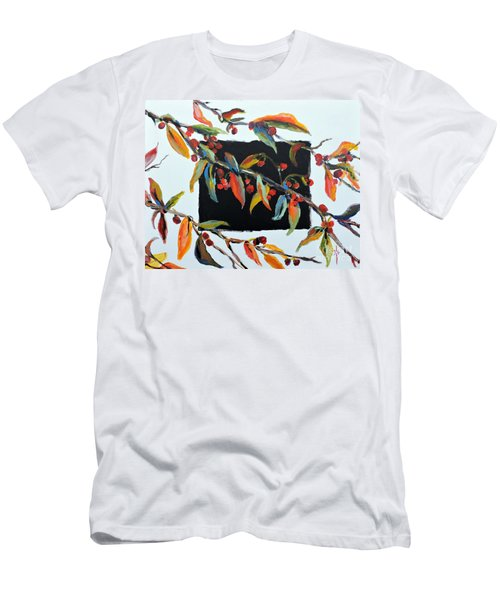 Crabapple Branches With Black Men's T-Shirt (Athletic Fit)