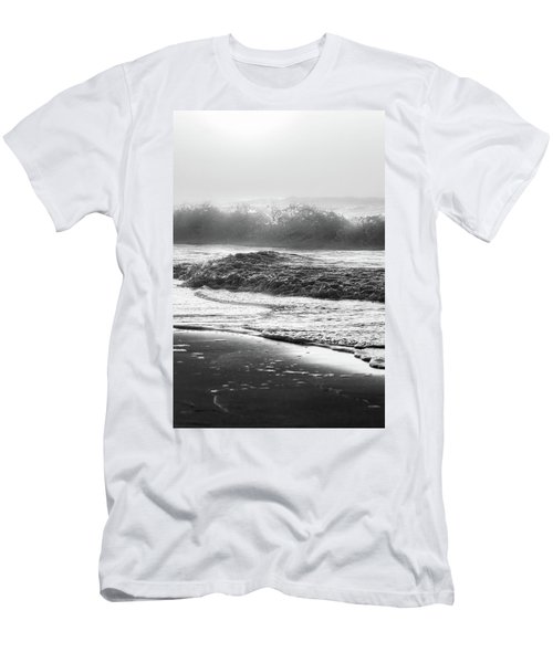 Men's T-Shirt (Slim Fit) featuring the photograph Crashing Wave At Beach Black And White  by John McGraw