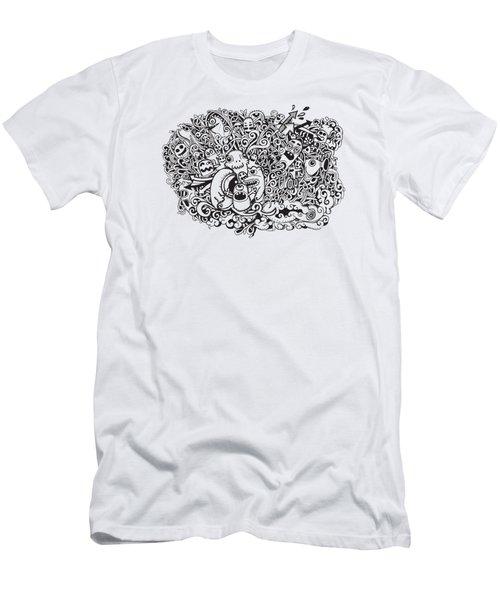 Crazy Doodle Monsters,doodle Drawing Style Men's T-Shirt (Athletic Fit)