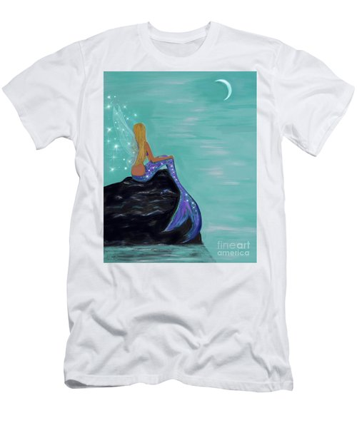Men's T-Shirt (Athletic Fit) featuring the painting Crescent Mermaid Moon Fairy by Leslie Allen