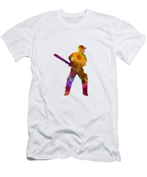 Cricket Player Batsman Silhouette 07 Men's T-Shirt (Athletic Fit)