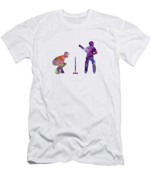 Cricket Player Silhouette Men's T-Shirt (Slim Fit) by Pablo Romero