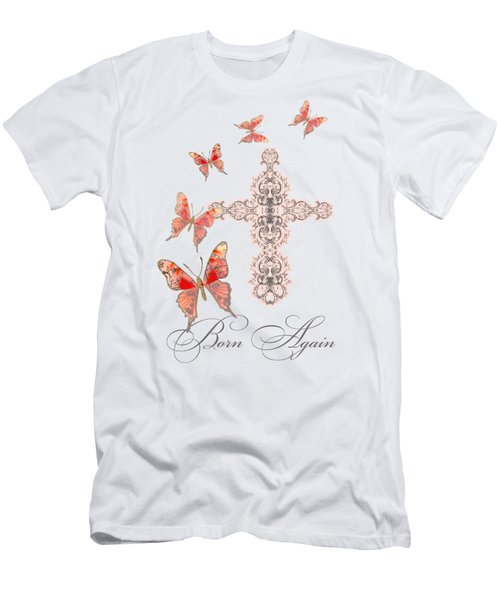 Cross Born Again Christian Inspirational Butterfly Butterflies Men's T-Shirt (Athletic Fit)