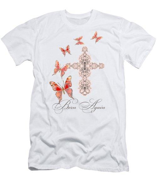 Cross Born Again Christian Inspirational Butterfly Butterflies Men's T-Shirt (Slim Fit)