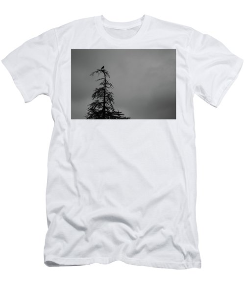 Crow Perched On Tree Top - Black And White Men's T-Shirt (Athletic Fit)