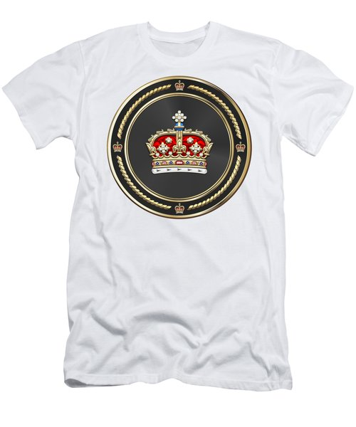 Crown Of Scotland Over White Leather  Men's T-Shirt (Athletic Fit)