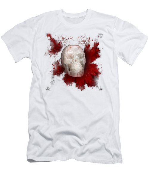 Crystal Skull With Red On Transparent Background Men's T-Shirt (Slim Fit) by Terri Waters