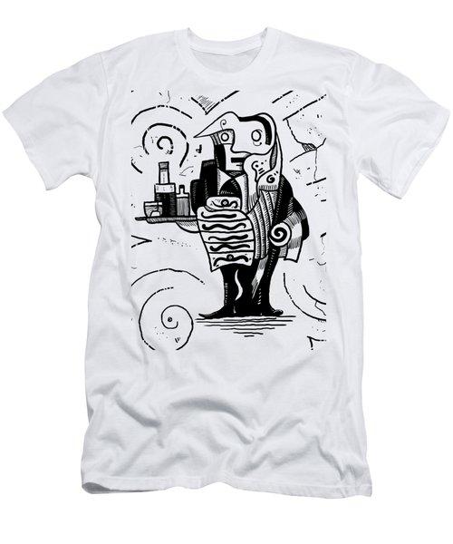 Cubist Waiter Men's T-Shirt (Slim Fit) by Sotuland Art