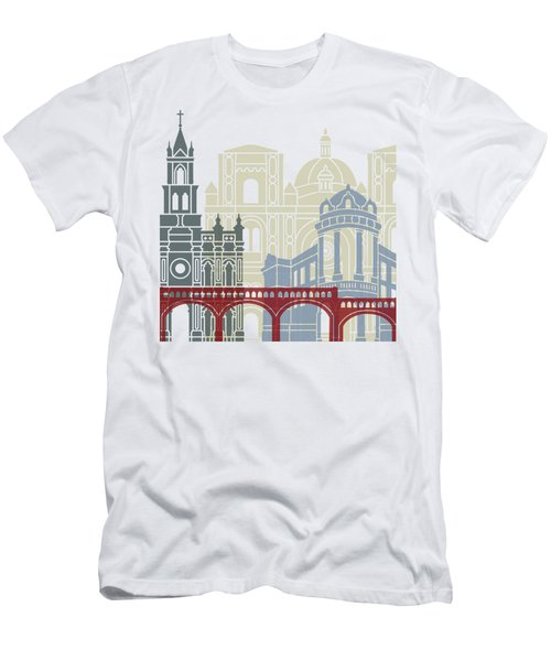 Cuenca Ec Skyline Linear Style With Rainbow Men's T-Shirt (Athletic Fit)