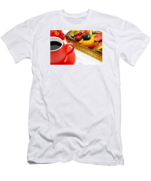 Cup Of Coffee And  Fruit Cake Men's T-Shirt (Athletic Fit)