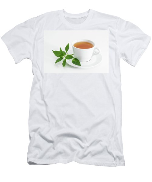 Cup Of Tea With Fresh Mint Men's T-Shirt (Slim Fit) by GoodMood Art