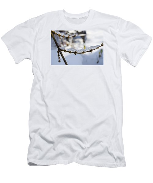 Men's T-Shirt (Slim Fit) featuring the photograph Curved Clumps Of Ice by Deborah Smolinske