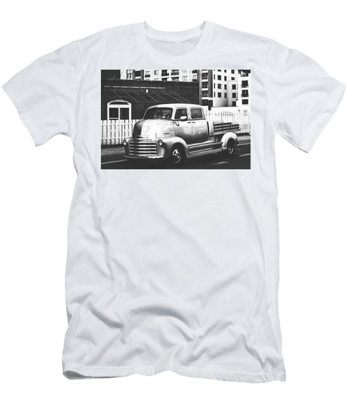 Men's T-Shirt (Slim Fit) featuring the photograph Custom Chevy Asbury Park Nj Black And White by Terry DeLuco
