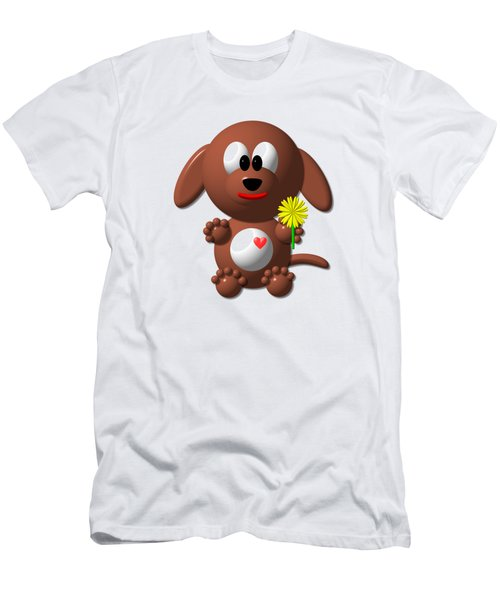 Cute Dog With Dandelion Men's T-Shirt (Athletic Fit)