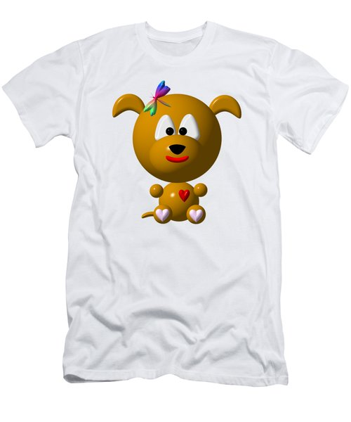Cute Dog With Dragonfly Men's T-Shirt (Slim Fit) by Rose Santuci-Sofranko