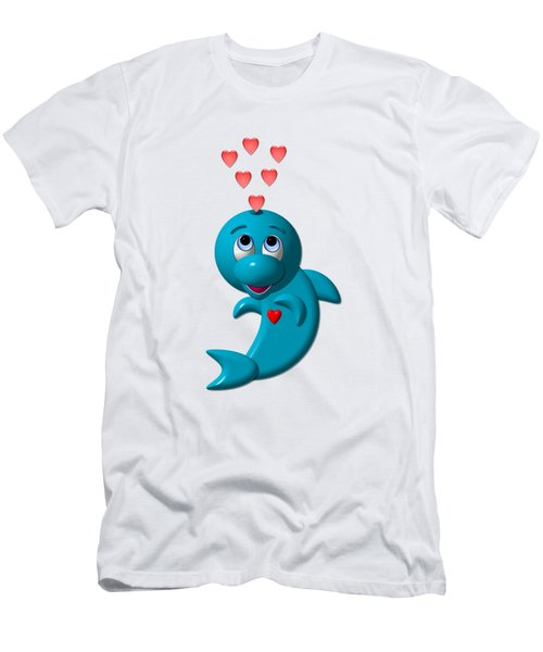 Cute Dolphin With Hearts Men's T-Shirt (Athletic Fit)