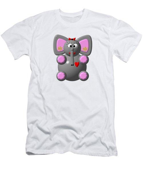 Cute Elephant Wearing Earrings Men's T-Shirt (Slim Fit) by Rose Santuci-Sofranko