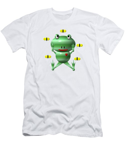 Cute Frog With Flies Men's T-Shirt (Slim Fit) by Rose Santuci-Sofranko