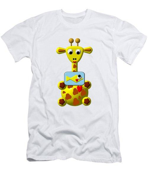 Cute Giraffe With Goldfish Men's T-Shirt (Slim Fit) by Rose Santuci-Sofranko