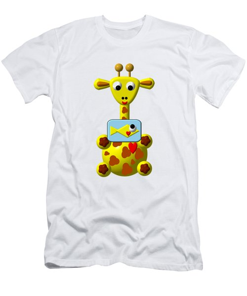 Cute Giraffe With Goldfish Men's T-Shirt (Athletic Fit)