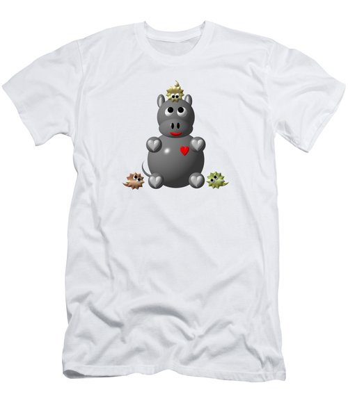 Cute Hippo With Hamsters Men's T-Shirt (Athletic Fit)