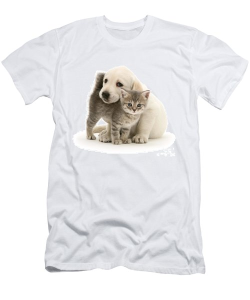 Cute Kitten And Perfect Puppy Men's T-Shirt (Athletic Fit)