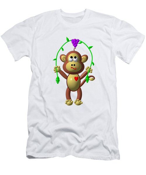 Cute Monkey Jumping Rope Men's T-Shirt (Slim Fit) by Rose Santuci-Sofranko