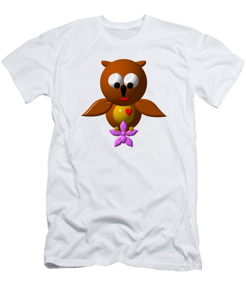 Cute Owl With Orchid Men's T-Shirt (Athletic Fit)