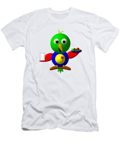 Cute Parrot With Healthy Salad And Milk Men's T-Shirt (Athletic Fit)