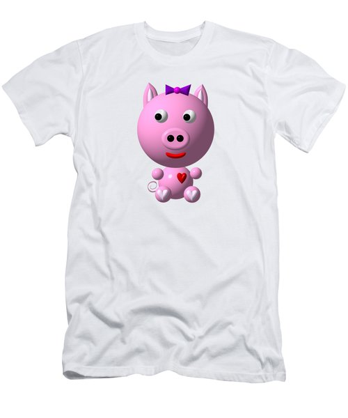 Cute Pink Pig With Purple Bow Men's T-Shirt (Athletic Fit)