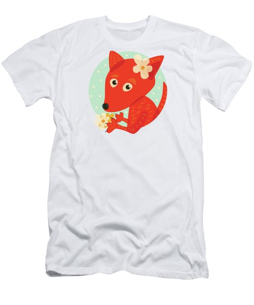 Cute Pretty Fox With Flowers Men's T-Shirt (Slim Fit)