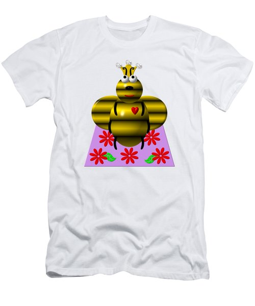 Cute Queen Bee On A Quilt Men's T-Shirt (Athletic Fit)