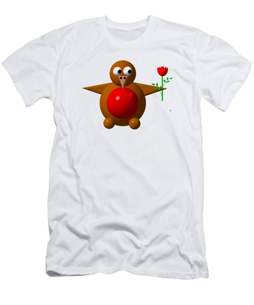 Cute Robin With Rose Men's T-Shirt (Athletic Fit)