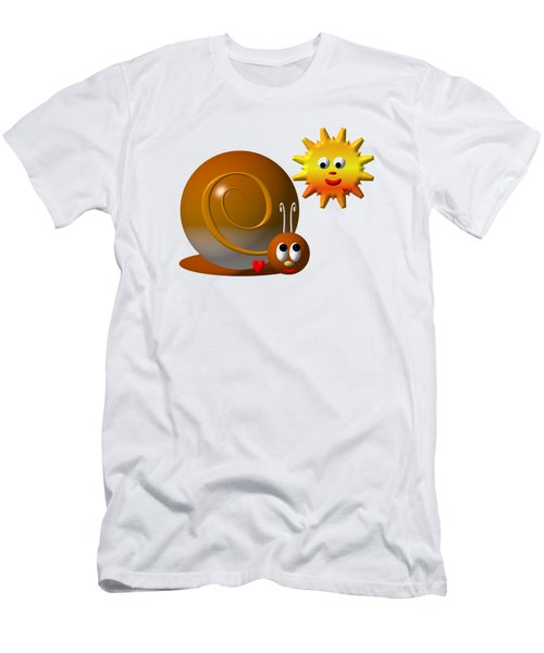 Cute Snail With Smiling Sun Men's T-Shirt (Slim Fit) by Rose Santuci-Sofranko