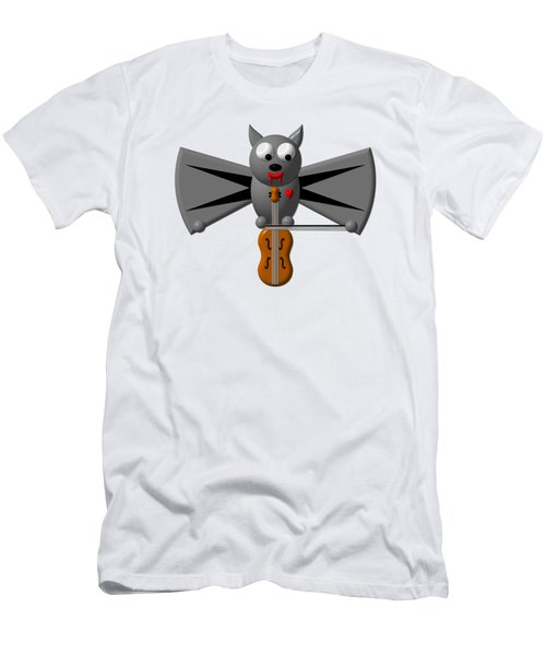 Cute Vampire Bat With Violin Men's T-Shirt (Athletic Fit)