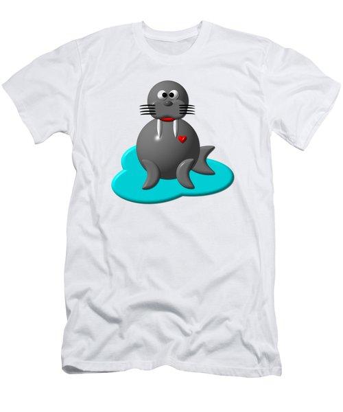 Cute Walrus In Water Men's T-Shirt (Slim Fit) by Rose Santuci-Sofranko
