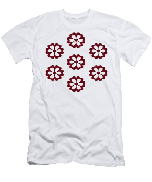 Cyber Flower Red Men's T-Shirt (Slim Fit) by Daniel Hagerman