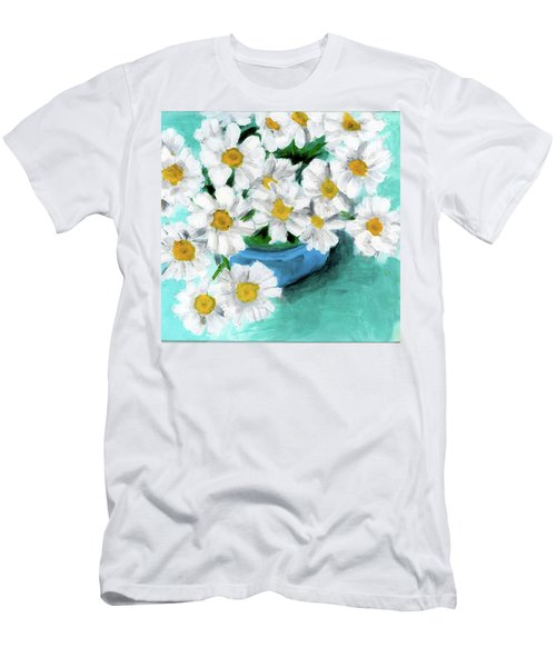 Daisies In Blue Bowl Men's T-Shirt (Athletic Fit)