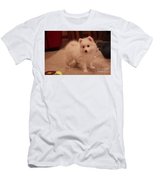 Men's T-Shirt (Slim Fit) featuring the photograph Daisy - Japanese Spitz by David Grant